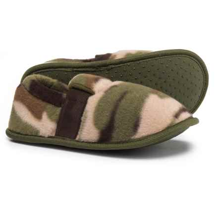 CAP3 Camo Fleece Slippers (For Boys) in Natural Combo - Closeouts