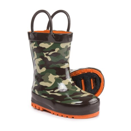 Capelli Camo Rubber Rain Boots - Waterproof (For Infant and Toddler Boys) in Brown Combo