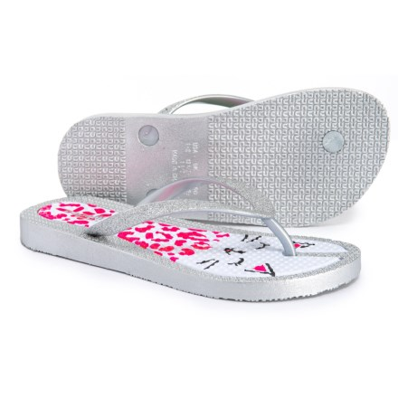 d6db8ee702f8bd Capelli Cat Print Flip-Flops (For Girls) in Silver Combo - Closeouts