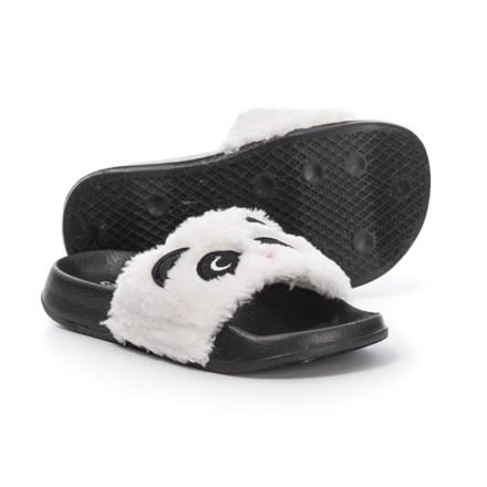 ed84763ef1e46c Capelli Faux-Fur Panda Slide Sandals (For Girls) in Black Combo - Closeouts