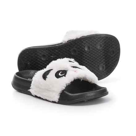 059ffbb792f Capelli Faux-Fur Panda Slide Sandals (For Girls) in Black Combo - Closeouts