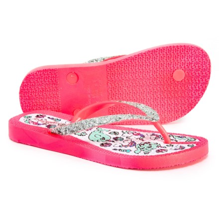 a74d6bed026b41 Capelli Mermaid Print Flip-Flops (For Girls) in Silver Combo - Closeouts