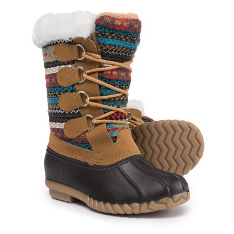 Capelli New York Printed Knit Snow Boots (For Girls) in Brown Combo