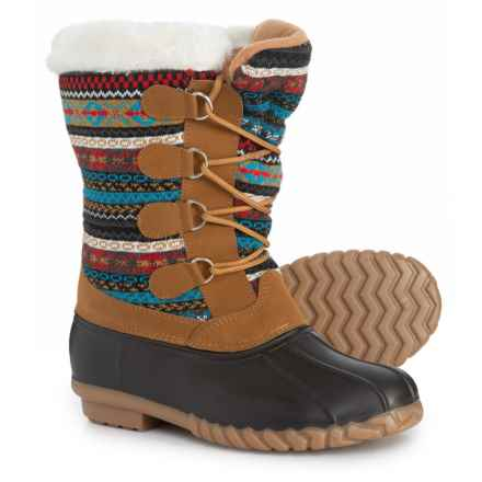 Capelli Printed Knit Pac Boots (For Little and Big Girls) in Brown Combo - Closeouts