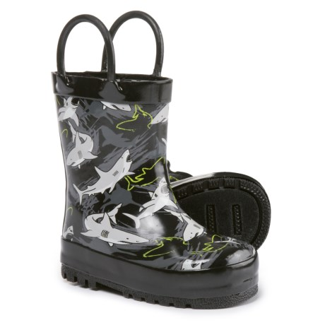 Capelli Shark Infested Rubber Rain Boots - Waterproof (For Infant and Toddler Boys) in Black Combo
