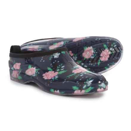 Capelli Shiny Spring Floral Rain Clogs - Waterproof, Slip-Ons (For Women) in Black Combo - Closeouts