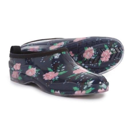 Capelli Shiny Spring Floral Rain Clogs - Waterproof, Slip-Ons (For Women) in Black Combo