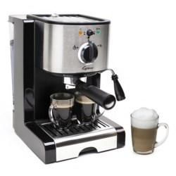 Capresso EC100 Pump Espresso and Cappuccino Machine in Black/Stainless