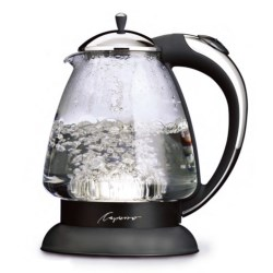 Capresso H20 Plus Glass Water Kettle in Chrome/Black