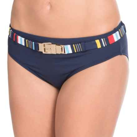 Captiva Peaceful Tropic Belted Bikini Bottoms (For Women) in Navy - Closeouts