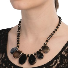 Cara Accessories Bead Teardrop Statement Necklace in Naturals - Closeouts