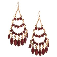 Cara Accessories Chandelier Faceted Glass Earrings in Dark Red/Gold - Closeouts