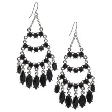 Cara Accessories Chandelier Faceted Glass Earrings in Jet/Rhodium - Closeouts