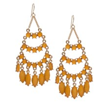 Cara Accessories Chandelier Faceted Glass Earrings in Light Colorado Topaz/Gold - Closeouts