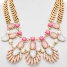 Cara Accessories Marquis and Oval Statement Bib Necklace in Pastel Pink - Closeouts