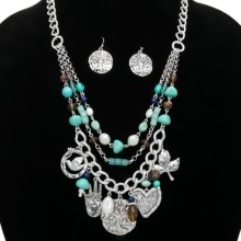 Cara Accessories Tree of Life Necklace and Earring Set in Turquoise - Closeouts