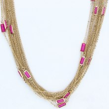 Cara Multi-Chain Necklace in Gold/Fushia - Closeouts