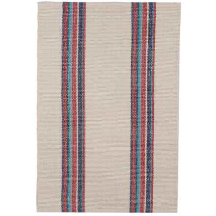 Caravan Striped Cotton Dhurrie Kitchen Rug - 2x3' in Costa Azzure - Closeouts