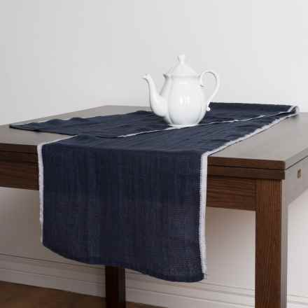 "Caravan Waffle Linen Table Runner - 16x72"" in Indigo - Closeouts"