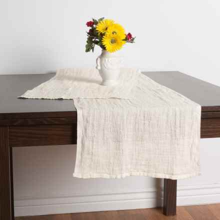 "Caravan Waffle Linen Table Runner - 16x72"" in White - Closeouts"