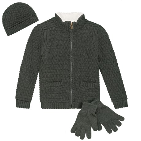 Image of Cardigan Sweater, Hat and Gloves Set - 3-Piece, Full Zip (For Toddler Boys)
