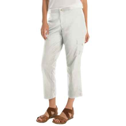 Cargo Capris with Knit Waistband (For Women) in White - 2nds