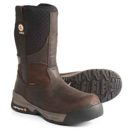 "Carhartt 10"" Force® Wellington Pull-On Work Boots - Waterproof, Composite Safety Toe (For Men) in Brown - Closeouts"