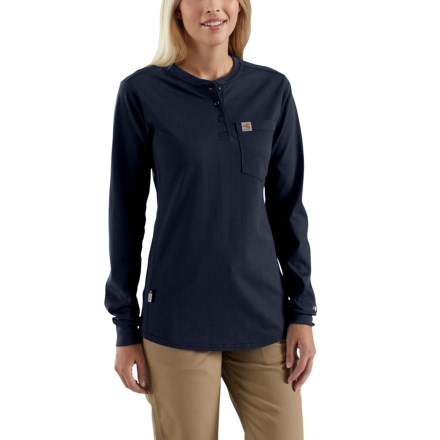 1ae824a72b0dd7 Carhartt 102686 Flame-Resistant Force® Cotton Henley Shirt - Long Sleeve  (For Women