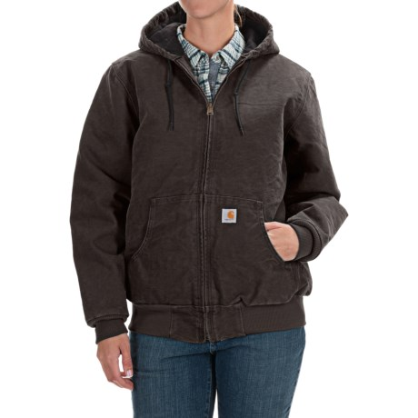 Carhartt Active Hooded Coat - Windproof (For Women) in Dark Brown