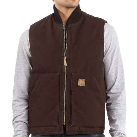 Carhartt Arctic Vest - Sandstone, Quilt-Lined (For Big Men) in Dark Brown - 2nds