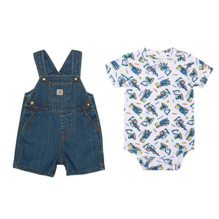 Carhartt Baby Bodysuit and Denim Bib Shorts Set - Short Sleeve (For Infant Boys) in Dark Blue - Closeouts