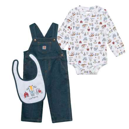 Carhartt Barnyard Friends Overall Set - 3-Piece, Long Sleeve (For Infant Boys) in Dark Blue - Closeouts
