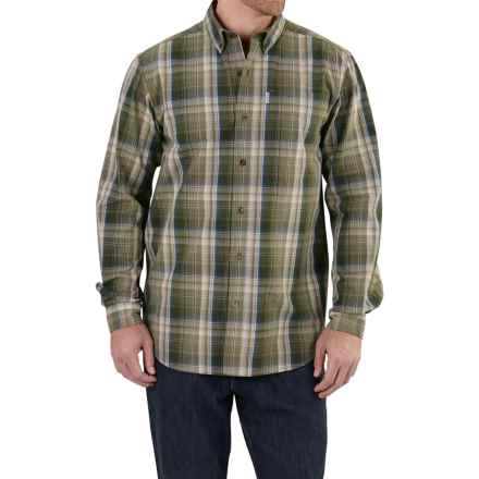 Carhartt Bellevue Shirt - Long Sleeve, Factory Seconds (For Tall Men) in Burnt Olive - 2nds