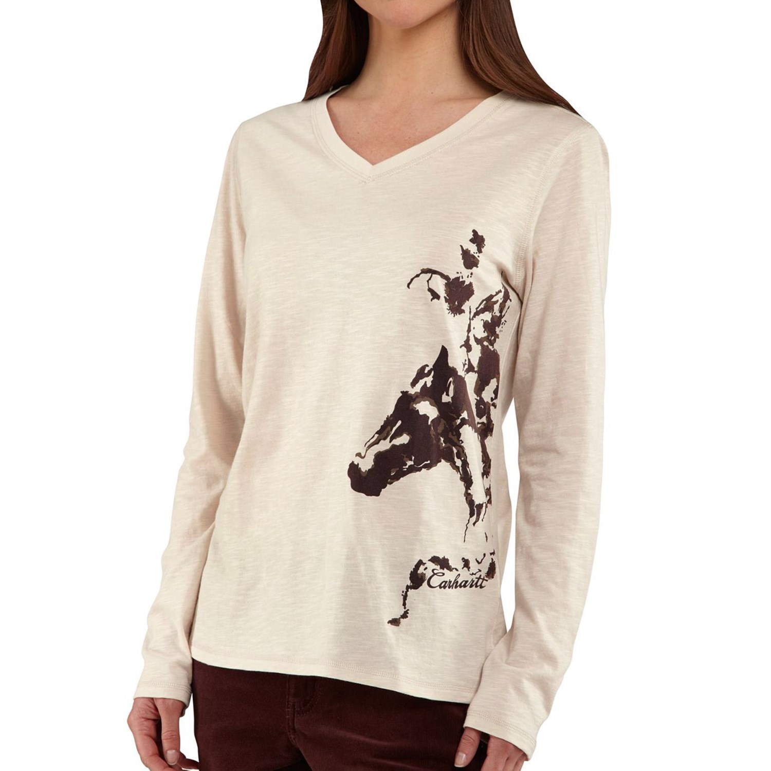 Carhartt briarwood v neck t shirt long sleeve for women for Carhartt long sleeve t shirts white