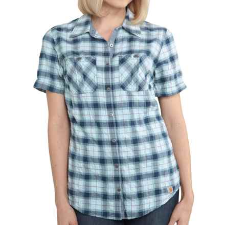 Carhartt Brogan Shirt - Short Sleeve, Factory Seconds (For Women) in Ether - 2nds