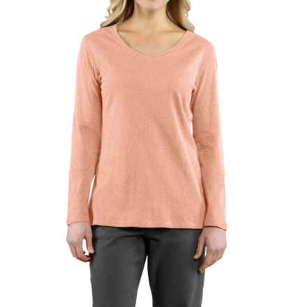 Carhartt Calumet T-Shirt - V-Neck, Long Sleeve (For Women) in Fresh Peach Heather - 2nds