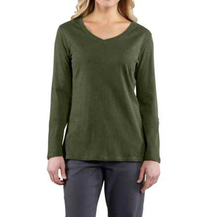 Carhartt Calumet T-Shirt - V-Neck, Long Sleeve (For Women) in Grape Leaf Heather - 2nds