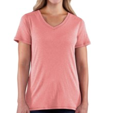 Carhartt Calumet T-Shirt - V-Neck, Short Sleeve (For Women) in Brick Dust Heather - 2nds