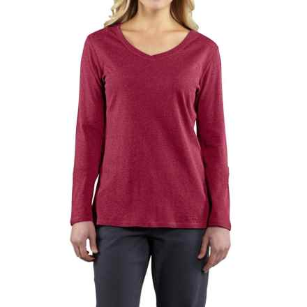 Carhartt Calumet V-Neck T-Shirt - Long Sleeve, Factory Seconds (For Women) in Raspberry Heather - 2nds