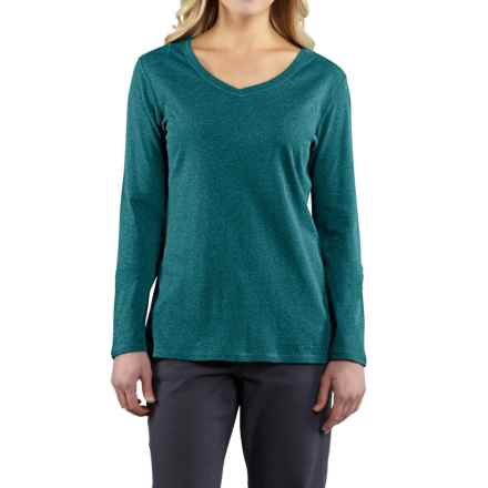 Carhartt Calumet V-Neck T-Shirt - Long Sleeve, Factory Seconds (For Women) in Teal Blue Heather - 2nds