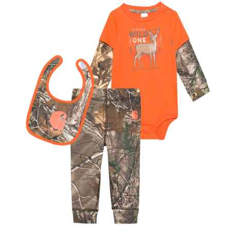 Carhartt Camo Baby Bodysuit, Bib and Pants Set - Long Sleeve (For Infant Boys) in Dark Brown Print - Closeouts