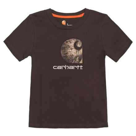 Carhartt Camo Logo T-Shirt - Short Sleeve (For Big Boys) in Dark Brown - Closeouts