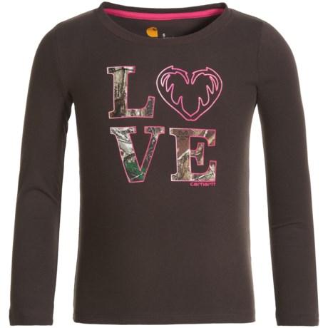 Carhartt Camo LOVE T-Shirt - Long Sleeve (For Big Girls) in Dark Brown