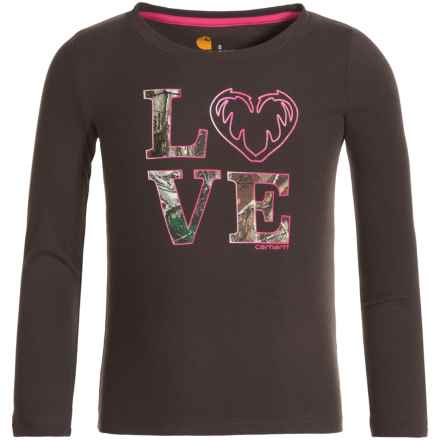 Carhartt Camo Love T-Shirt - Long Sleeve (For Little Girls) in Dark Brown - Closeouts