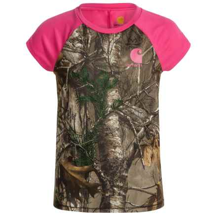 Carhartt Camo Raglan T-Shirt - Short Sleeve (For Big Girls) in Realtree Extra - Closeouts