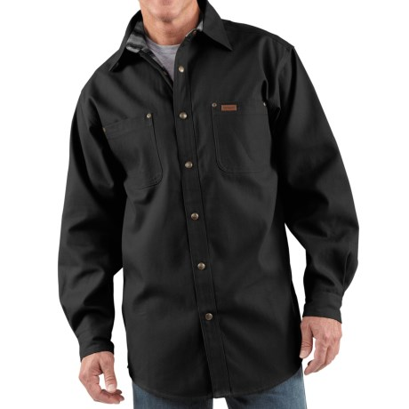Carhartt Canvas Shirt Jacket - Flannel Lined (For Men) in Black