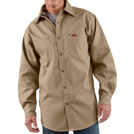 Carhartt Canvas Shirt Jacket - Flannel Lined (For Men) in Cottonwood