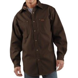Carhartt Canvas Shirt Jacket - Flannel Lined (For Men) in Moss