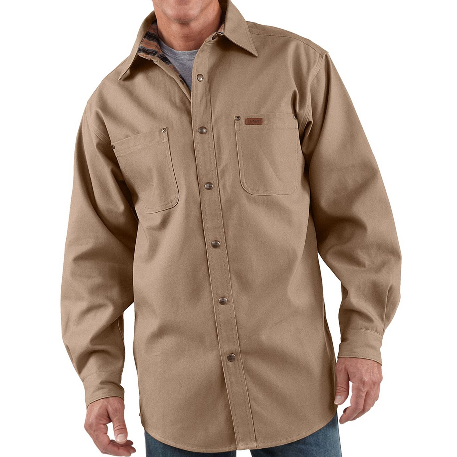 Carhartt Canvas Shirt Jacket Flannel Lined For Tall Men