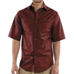 Carhartt Canvas Tradesman Work Shirt - Short Sleeve (For Men) in Dark Red
